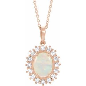 "14K Rose Ethiopian Opal & 1/2 CTW Diamond Halo-Style 16-18"" Necklace"