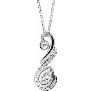 14K White 1/2 CTW Diamond Freeform Necklace
