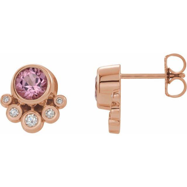14K Rose Pink Tourmaline & 1/8 CTW Diamond Earrings