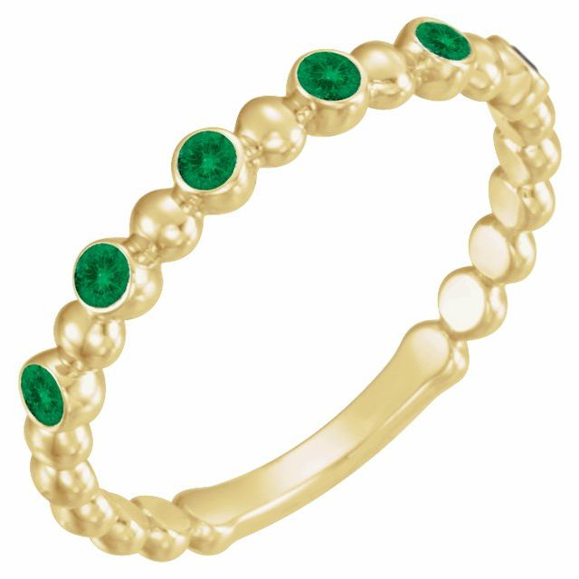 14K Yellow Chatham® Created Emerald Stackable Ring