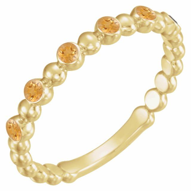 14K Yellow Citrine Stackable Ring