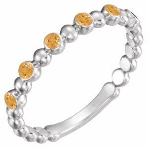 14K White Citrine Stackable Ring