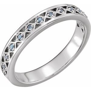 14K White Aquamarine Stackable Ring