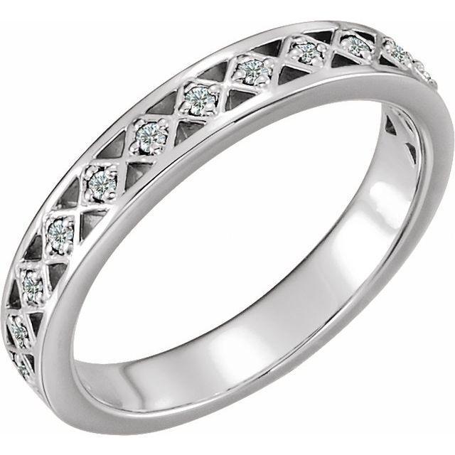 14K White 1/8 CTW Diamond Stackable Ring