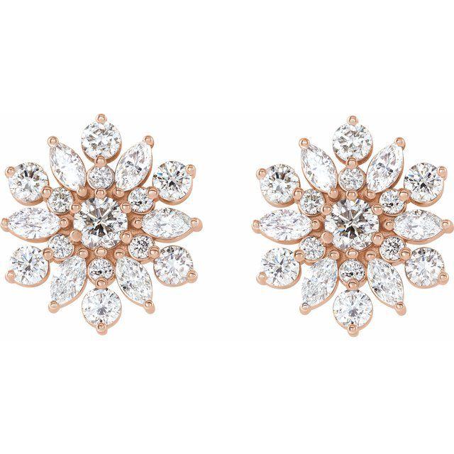 14K Rose 1 CTW Diamond Earrings