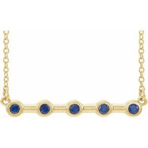 """14K Yellow Blue Sapphire Bezel-Set 16"""" Bar Necklace"""