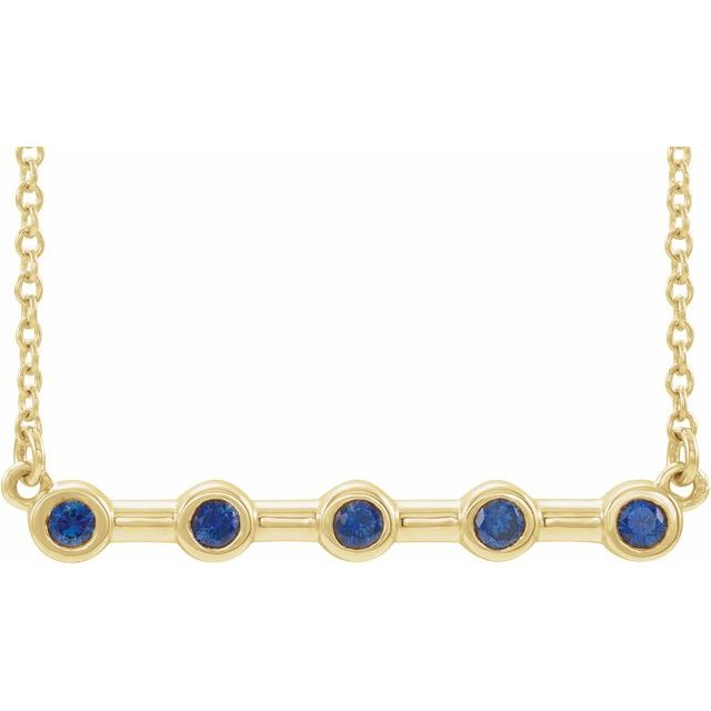 14K Yellow Blue Sapphire Bezel-Set Bar 18