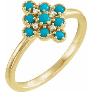 14K Yellow Turquoise & .02 CTW Diamond Ring
