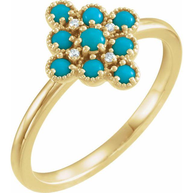 14K Yellow Turquoise & .02 CTW Diamond Ring