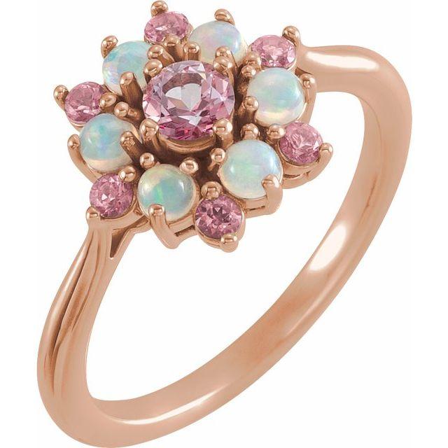 14K Rose Pink Tourmaline & Ethiopian Opal Floral-Inspired Ring