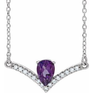 "14K White Amethyst & .06 CTW Diamond 16"" Necklace"