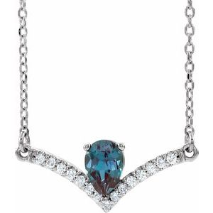 "14K White Lab-Grown Alexandrite & .06 CTW Diamond 18"" Necklace"