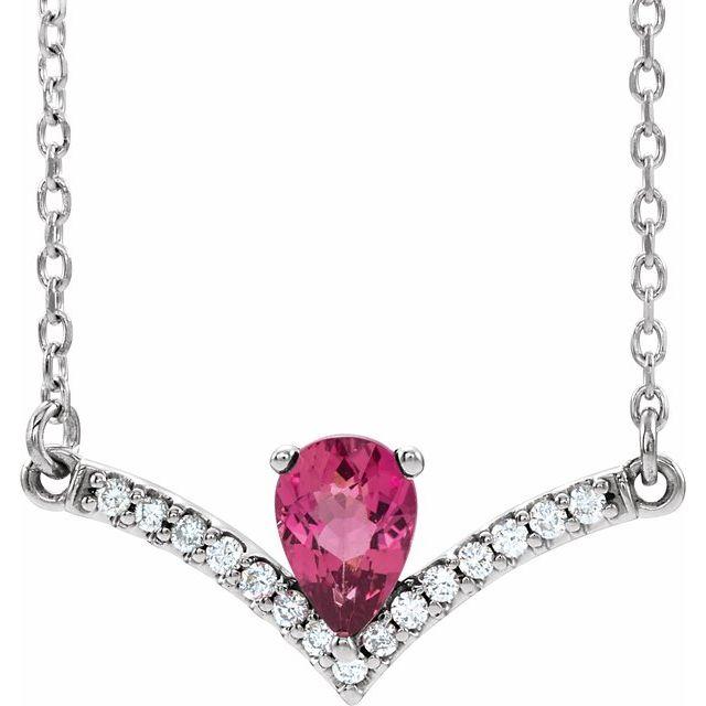 14K White Pink Tourmaline & .08 CTW Diamond 18