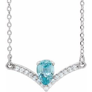 "14K White Blue Zircon & .06 CTW Diamond 18"" Necklace"