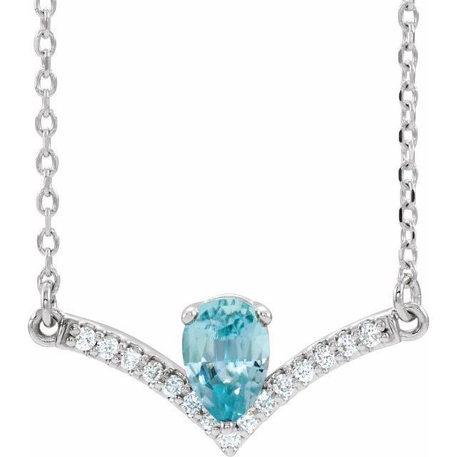 14K White Blue Zircon & .06 CTW Diamond 18