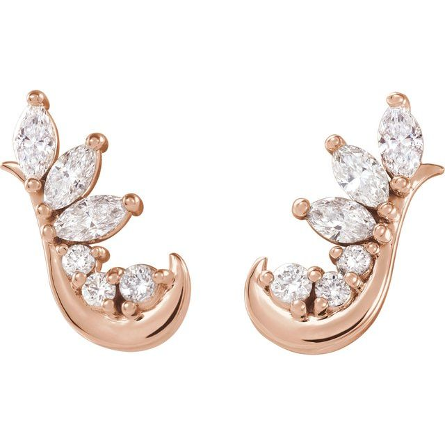 14K Rose 1/4 CTW Diamond Earring Climbers