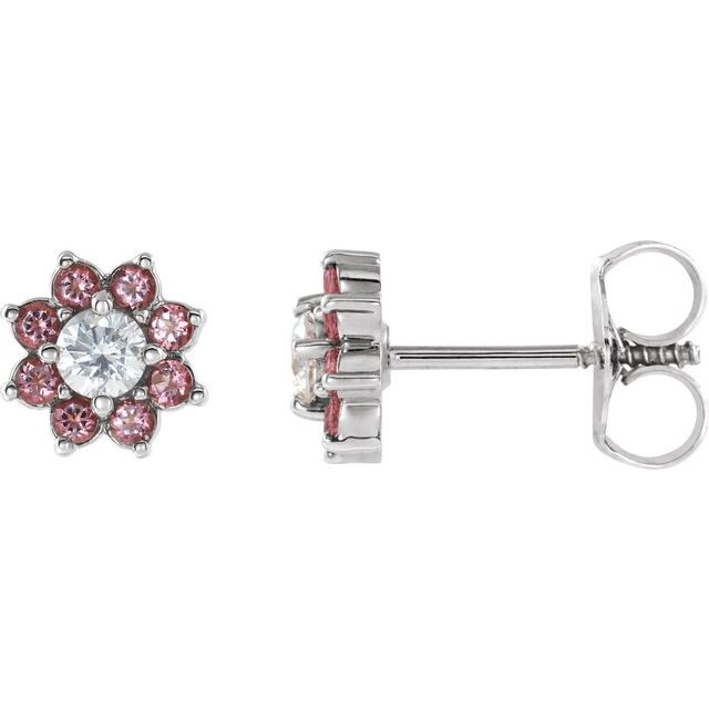 14K White Baby Pink Topaz & Cubic Zirconia Earrings