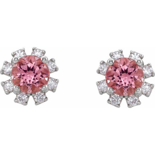 Sterling Silver Pink Tourmaline & .07 CTW Diamond Earrings