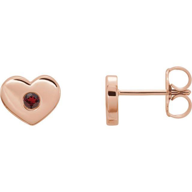 14K Rose Mozambique Garnet Heart Earrings