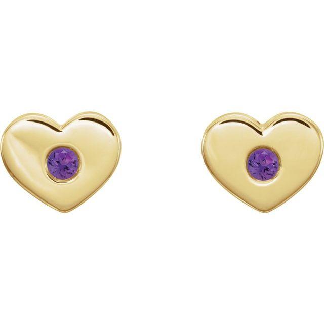 14K Yellow Amethyst Heart Earrings