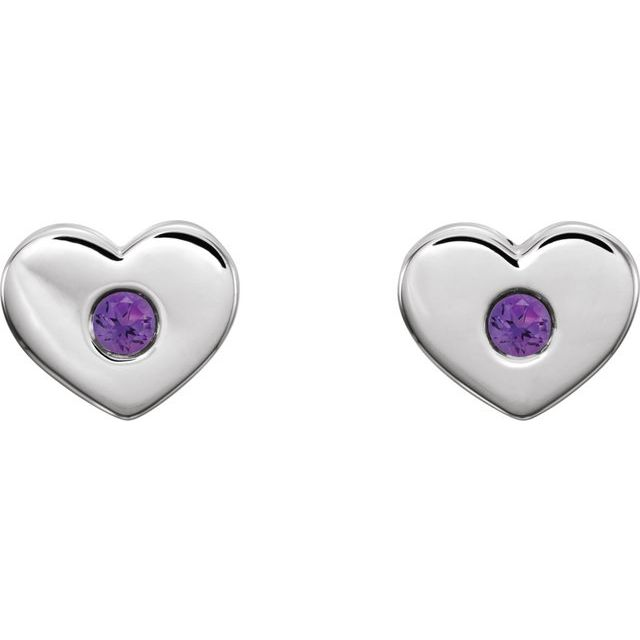 14K White Amethyst Heart Earrings