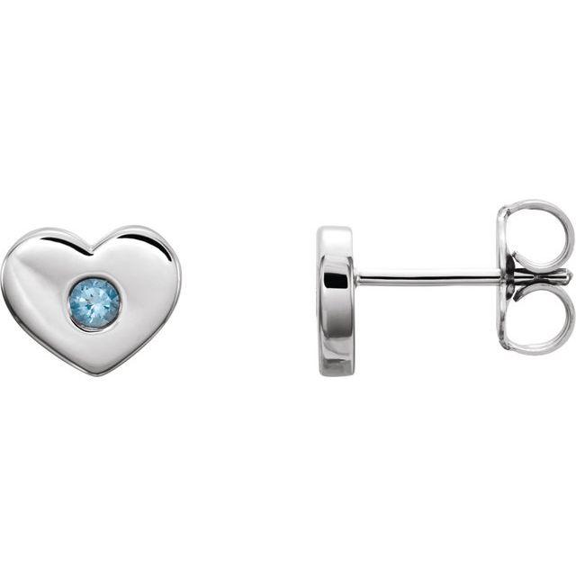 14K White Aquamarine Heart Earrings