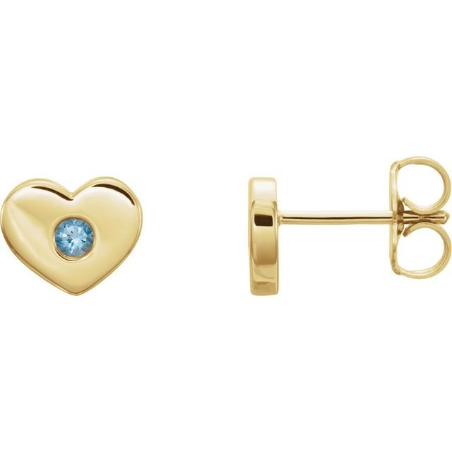 14K Yellow Aquamarine Heart Earrings