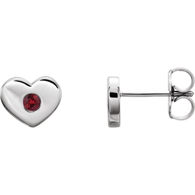 14K White Ruby Heart Earrings