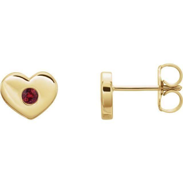 14K Yellow Lab-Grown Ruby Heart Earrings