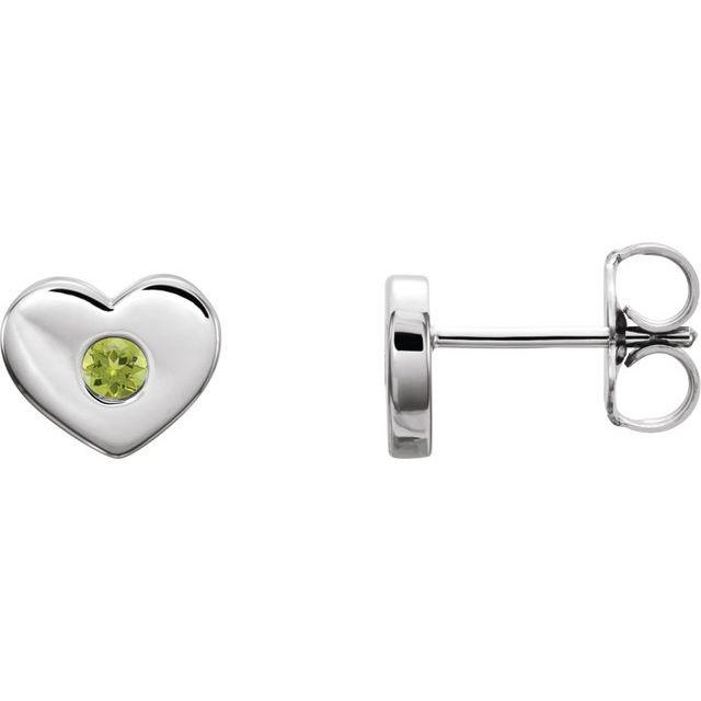 Sterling Silver Peridot Heart Earrings