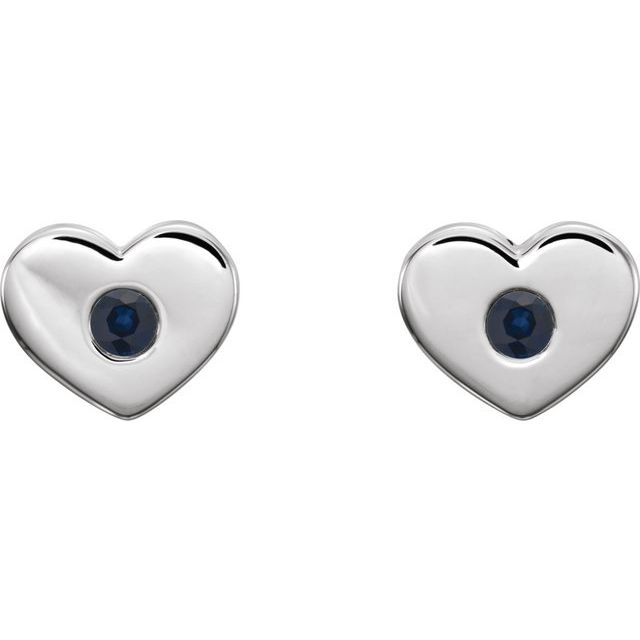 14K White Blue Sapphire Heart Earrings