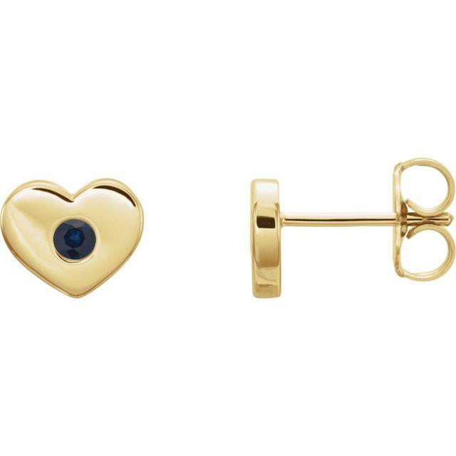 14K Yellow Blue Sapphire Heart Earrings