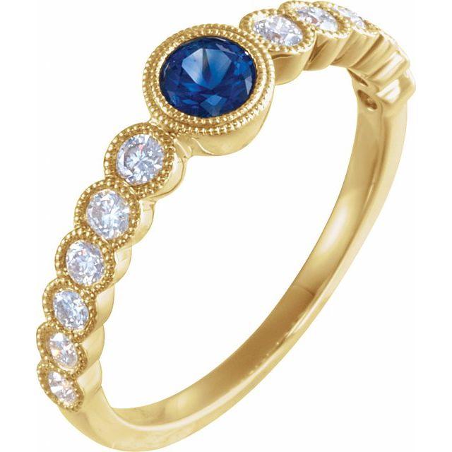 14K Yellow Blue Sapphire & 1/2 CTW Diamond Ring