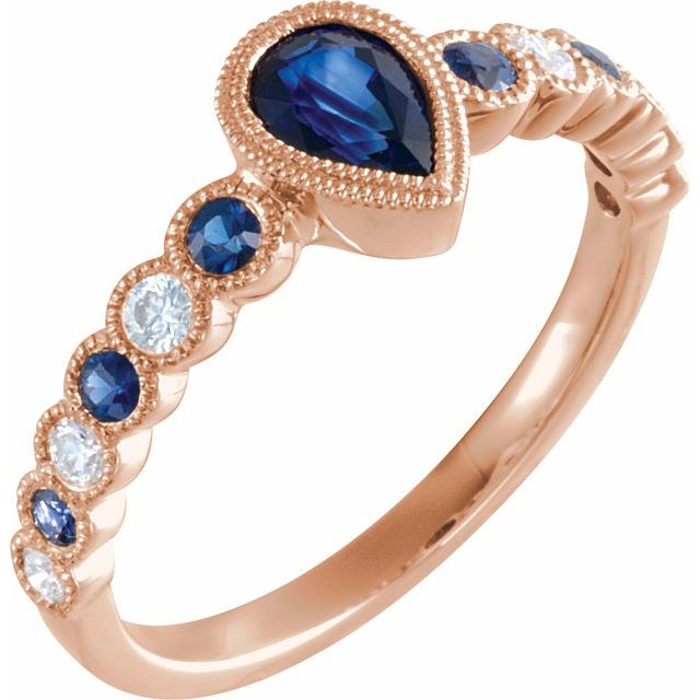 14K Rose Blue Sapphire & 1/6 CTW Diamond Ring