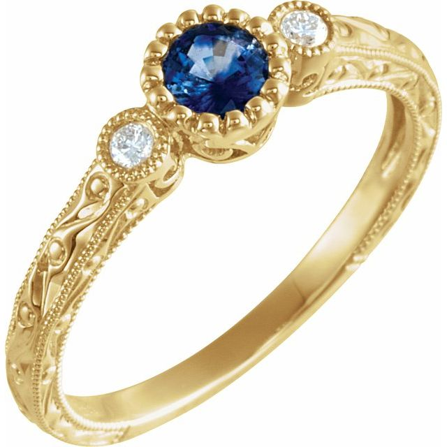 14K Yellow Blue Sapphire & .04 CTW Diamond Ring