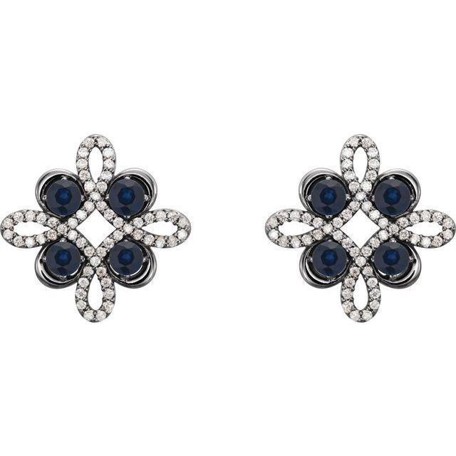 14K White Lab-Grown Blue Sapphire & 1/4 CTW Diamond Earrings