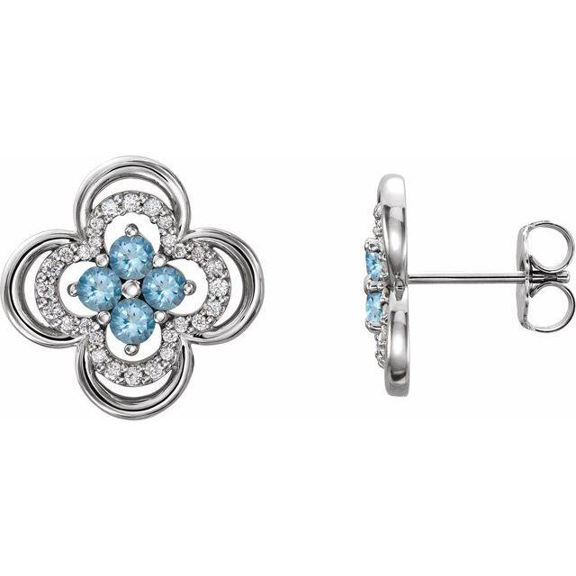 14K White Aquamarine & 1/5 CTW Diamond Clover Earrings