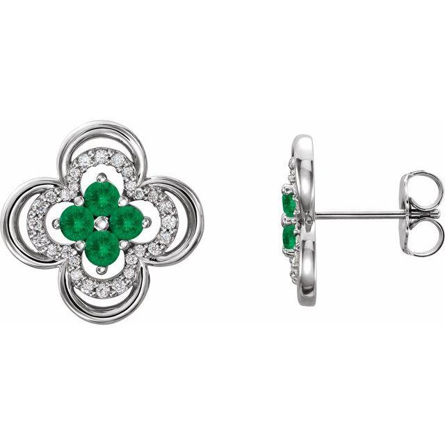 14K White Emerald & 1/5 CTW Diamond Clover Earrings