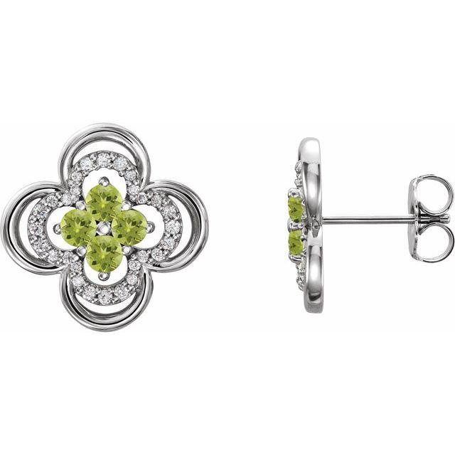 Platinum Peridot & 1/5 CTW Diamond Clover Earrings