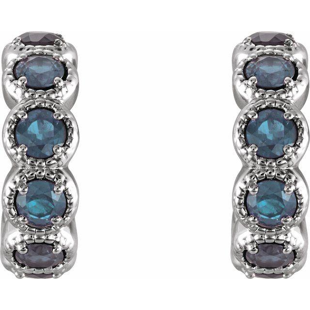 14K White Aquamarine Huggie Earrings