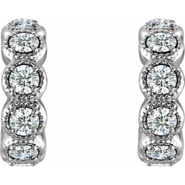 14K White 7/8 CTW Diamond Huggie Earrings