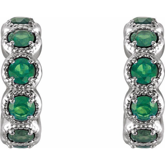 14K White Lab-Grown Emerald Huggies
