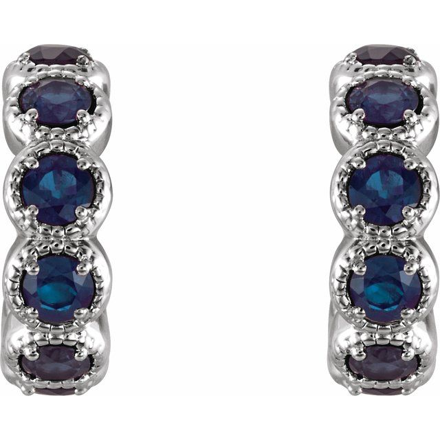 14K White Chatham® Lab-Created Sapphire Hoop Earrings
