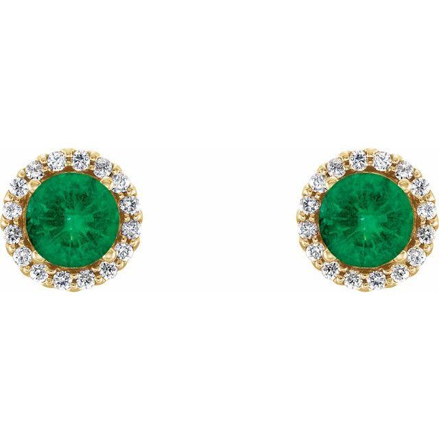 14K Yellow Lab-Grown Emerald & 1/6 CTW Diamond Earrings
