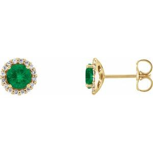 14K Yellow Lab-Grown Emerald & 1/8 CTW Diamond Earrings