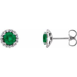 Sterling Silver Emerald & 1/6 CTW Diamond Earrings