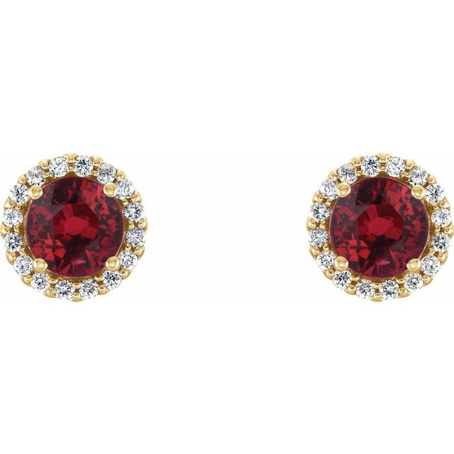 14K Yellow Chatham® Lab-Created Ruby & 1/5 CTW Diamond Earrings