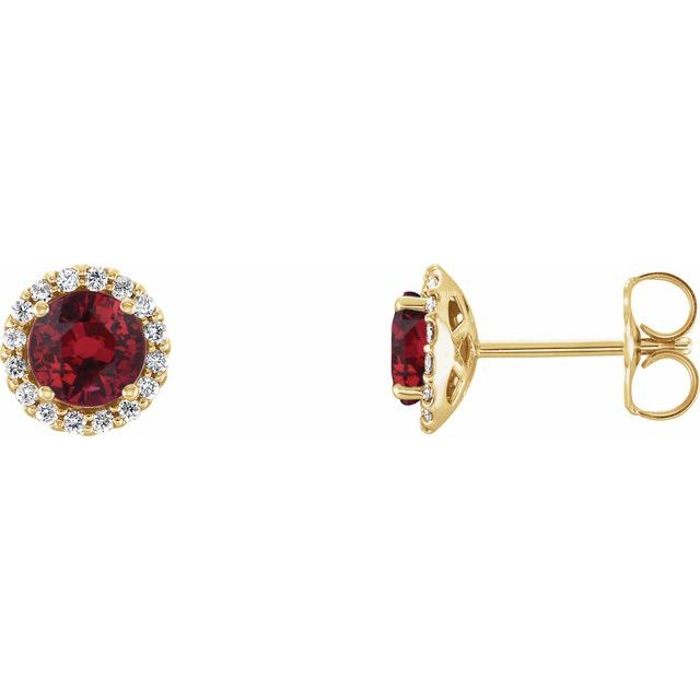 14K Yellow Chatham® Lab-Created Ruby & 1/6 CTW Diamond Earrings