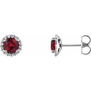 14K White Lab-Grown Ruby & 1/8 CTW Diamond Earrings
