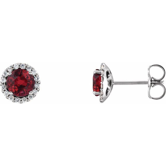 14K White Ruby & 1/8 CTW Diamond Earrings